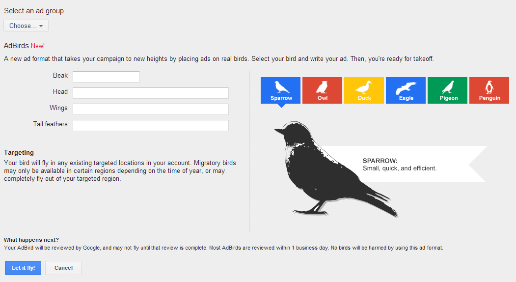 AdBirds – New form of advertising now in Google AdWords.